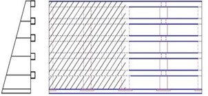 Sealed central traffic barrier schematic diagram:  a) 50 % ventilation rate; b) 25 % ventilation rate; c) 0 % ventilation rate