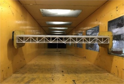 Sectional model installed  in the wind tunnel