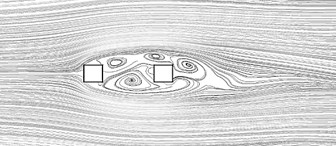 Time averaged streamline for square cylinders arranged in tandem at Re = 6.5e4 for different L/D: a) single cylinder, b) L/D= 1.5, c) L/D= 2.5, d) L/D= 3.5, e) L/D= 3.75, f) L/D= 4,  g) L/D= 4.25, h) L/D= 4.5, i) L/D= 5, j) L/D= 6, k) L/D= 7, l) L/D= 8.75