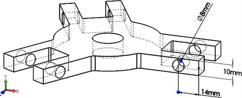 a) 3D view of rotor hub, b) fabrication process of rotor hub