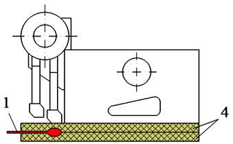 The experimental model of the tamper-asphalt mixture interaction: 1 – force sensor, 2 – asphalt pavement, 3 – compacting mechanism, 4 – two planks of hard rubber material
