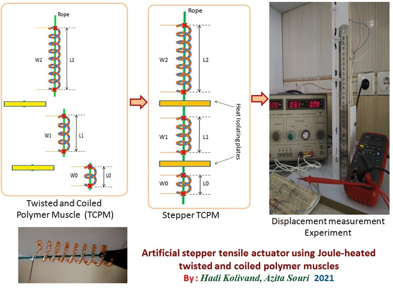 Artificial stepper tensile actuator using Joule-heated twisted and coiled polymer muscles