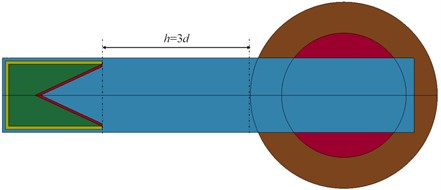 Schematic diagram of shaped charge impacting into cylindrical shell