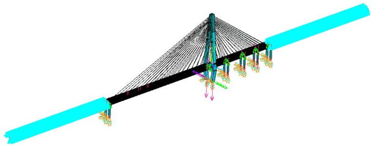 Cable-stayed bridge model