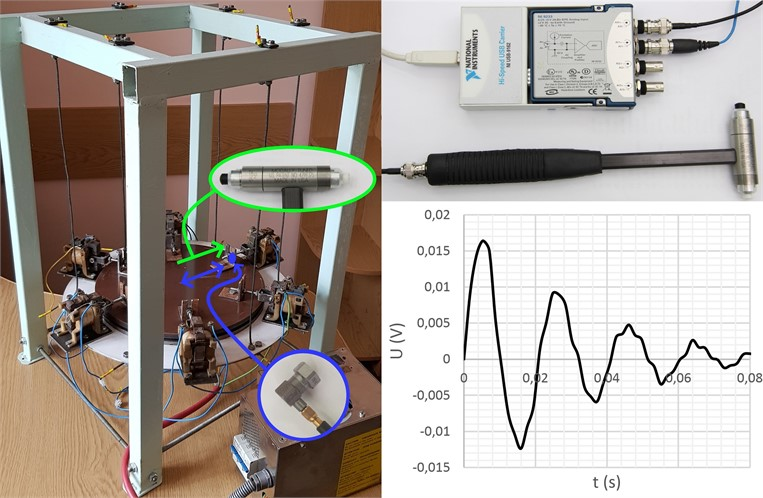 Experimental prototype of vibratory lapping machine, measuring tools,  and results of testing the system's free damped oscillations