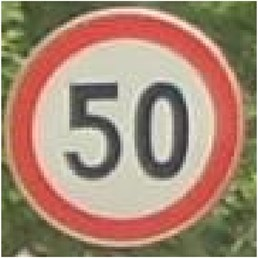 Recognition process of speed limit sign