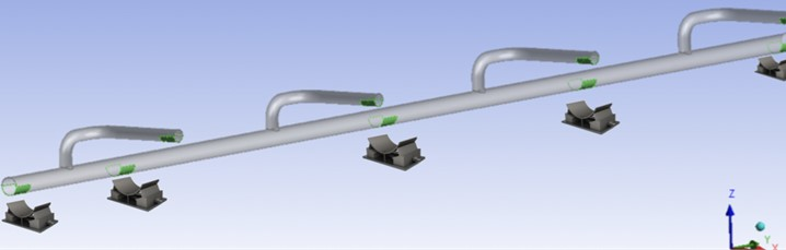 Simulation of underground anchorages and supports under the stabbing valve No. 1