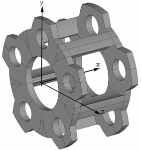 3-D model of planetary gearbox carrier with five satellites