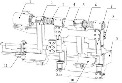 Schematic diagram of double pipe automatic loading and unloading device:  1. Oscillating oil cylinder, 2. Support, 3. Reset spring, 4. Casing pipe gripper arm, 5. Drive shaft,  6. Gripper arm stop device, 7. Drill pipe gripper arm, 8. Flow dividers and combiner,  9. Baffle, 10. Casing stop plate, 11. Push rod device