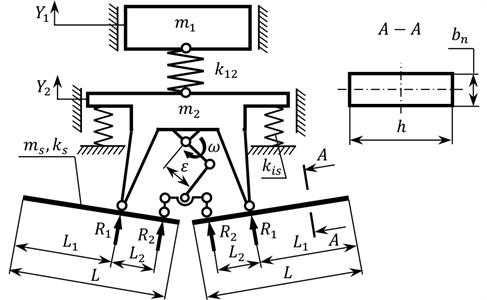 Calculation diagrams of a) three-mass discrete and b) discrete-continuous oscillatory systems