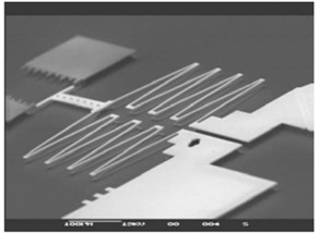 Unconventional electrothermal actuators: a) microgripper based on expanding bars;  b) microgripper based on the silicon-polymer stack; c) microspring. Adapted from [58]