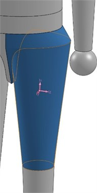a) General idea for the 3D model of the human thigh; b) a computer realization  of all the three geometrical parts embraced within the mathematical model of the thigh
