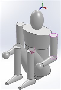 a) Standing position – subject stands erect with head oriented in the Frankfort plane and with arms hanging naturally at the sides as when measuring stature, b) standing, arms over head. Legs, torso, and head same as position 1; upper extremities raised over head, parallel to Y-axis; wrist axes parallel to X-axis; hands slightly clenched, c) sitting, thighs elevated position: thighs and forearms are placed parallel  to the Z-axis, the upper arms, shanks, and spine are parallel to the Y-axis; the soles are parallel  to the X-Z plane; wrist axes are parallel to Z-axis, and the head lies in Frankfort plane