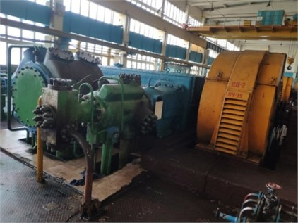 """General view of opposed compressor mount of in shop N4  of """"KuibyshevAzot"""" public joint stock company"""