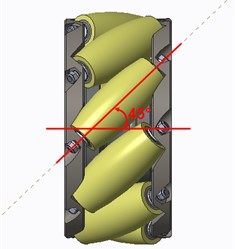 Twist angle between each roller and the rotational axis of the Mecanum wheel