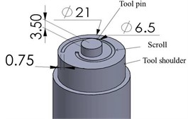 FSP tool with cylinder pin and shoulder scroll