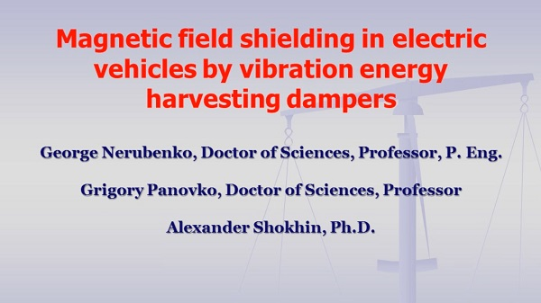 Magnetic field shielding in electric vehicles by vibration energy harvesting dampers