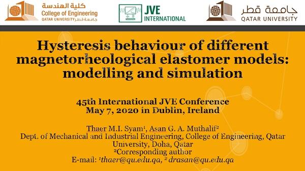 Hysteresis behaviour of different magnetorheological elastomer models: modelling and simulation