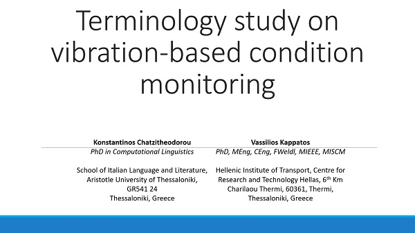 Terminology study on vibration-based condition monitoring technique