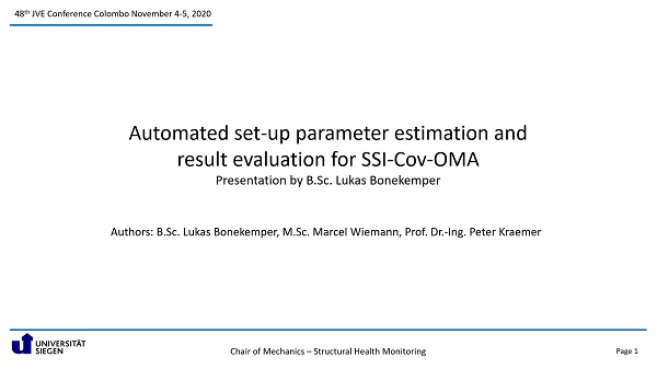 Automated set-up parameter estimation and result evaluation for SSI-Cov-OMA