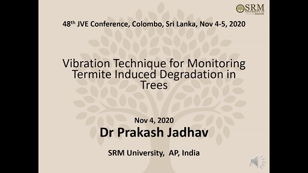 Vibration technique for monitoring termite induced degradation in trees