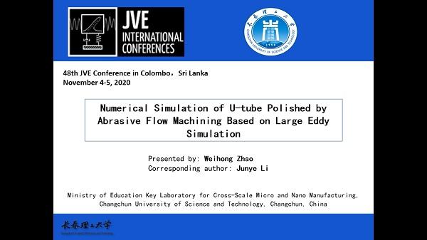 Numerical simulation of u-tube polished by abrasive flow machining based on large eddy simulation