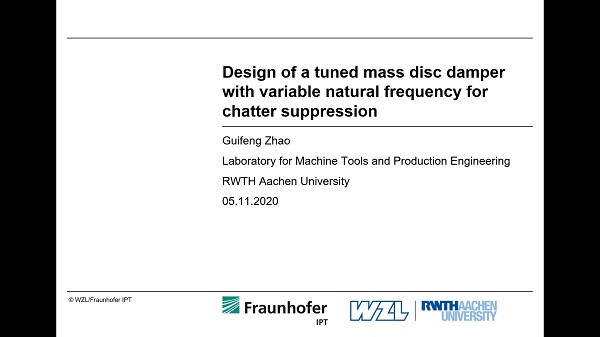 Design of a tuned mass disc damper with variable natural frequency for chatter suppression