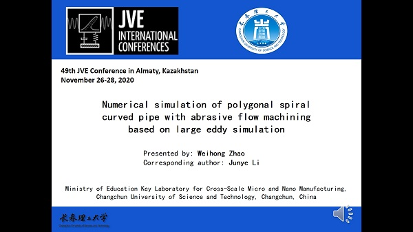 Numerical simulation of polygonal spiral curved pipe with abrasive flow machining based on large eddy simulation