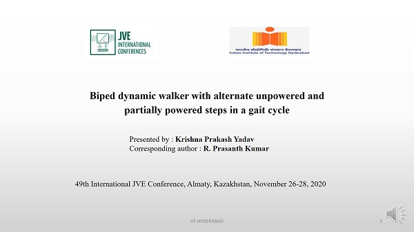 Biped dynamic walker with alternate unpowered and partially powered steps in a gait cycle