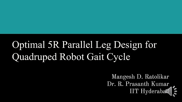 Optimal 5R parallel leg design for quadruped robot gait cycle