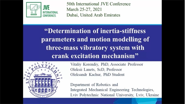 Determination of inertia-stiffness parameters and motion modelling of three-mass vibratory system with crank excitation mechanism